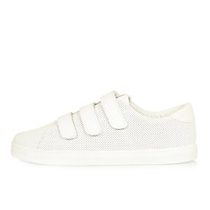 White perforated Velcro sneakers