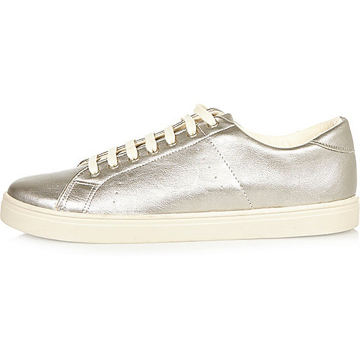 Silver contrast trainers