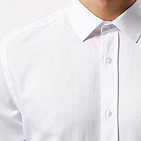White formal textured slim fit shirt