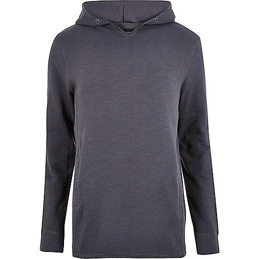 Grey raw edge longline hoodie