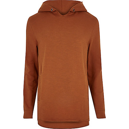 Orange raw edge longline hoodie