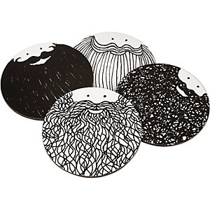 White Bernard & Samuels beard coaster set