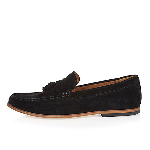 Black suede tassel loafers
