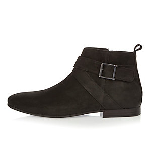 Black suede buckle Chelsea boots