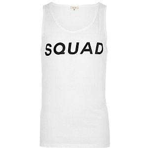 White squad print vest
