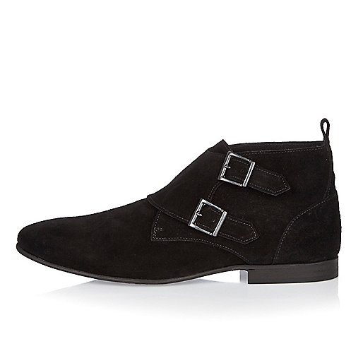 Black suede double monk shoes