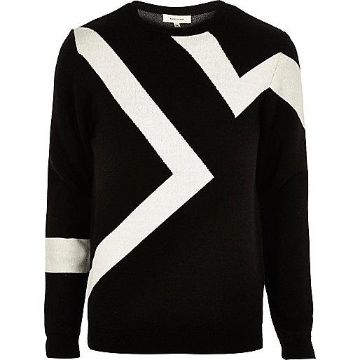 Schwarzer Pullover mit Blitzmotiv