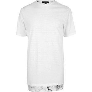 White marble hem longline T-shirt