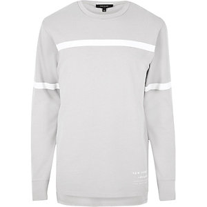 Sweat rayé colour block gris