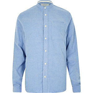 Blue twill flannel grandad shirt