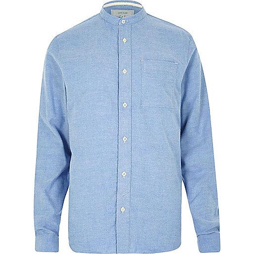 Blaues, legeres Flanellhemd mit Grandad-Kragen