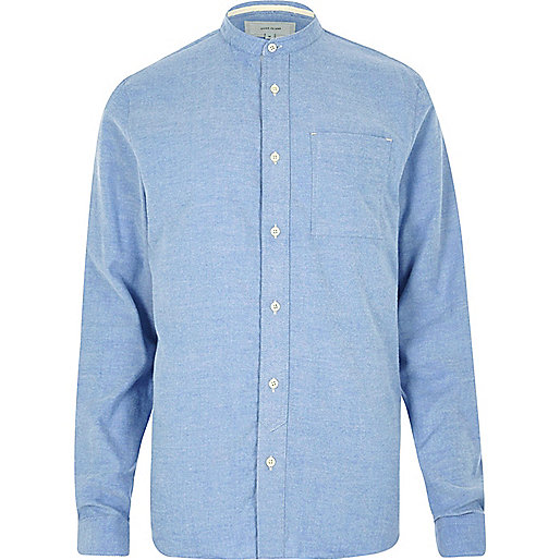 Blaues Grandad-Hemd aus Flanell