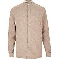 Braunes Grandad-Hemd aus Flanell