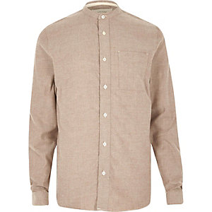 Brown casual twill flannel grandad shirt