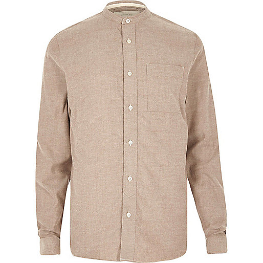 Brown casual twill flannel grandad shirt