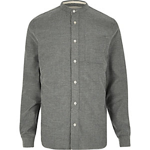 Grey casual flannel grandad shirt