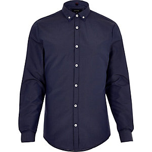 Navy spot double collar slim fit shirt
