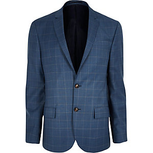 Blue check slim fit suit jacket