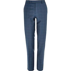 Blue check slim suit pants