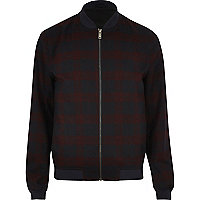 Red formal check bomber jacket