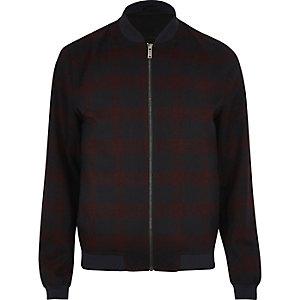 Red formal check bomber jacket
