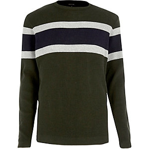 Dark green block stripe jumper