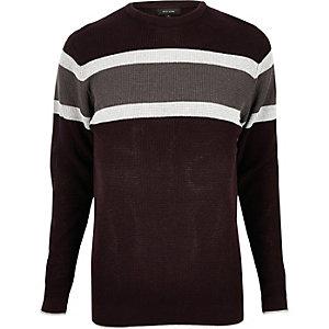 Dark red block stripe jumper