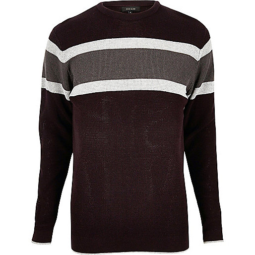 Dark red block stripe sweater