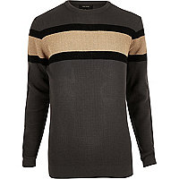 Dark grey block stripe sweater