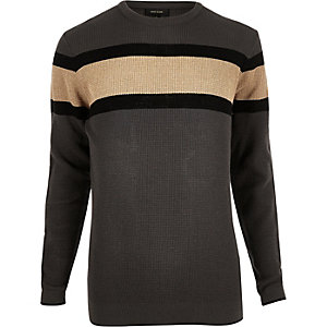 Dark grey block stripe sweater