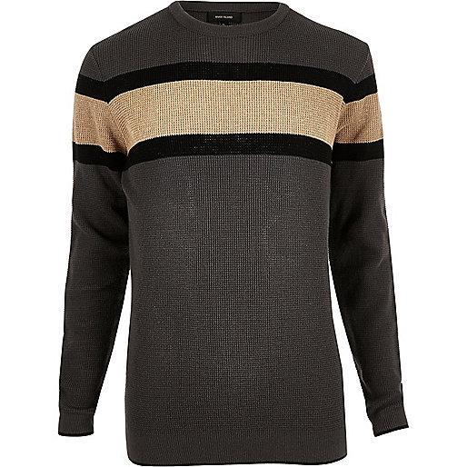 Dark grey block stripe jumper