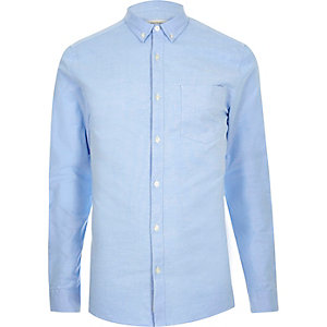 Blue skinny stretch Oxford shirt