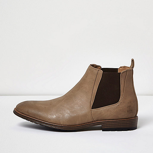 Stone Chelsea boots