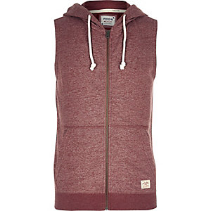 Red Jack & Jones Vintage sleeveless hoodie