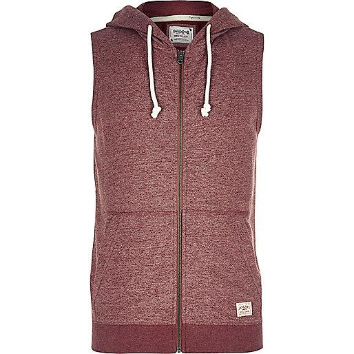 Red Jack & Jones Vintage sleeveless hoodie