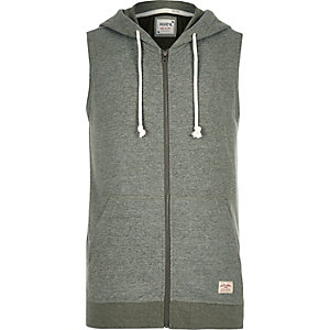 Green Jack & Jones Vintage sleeveless hoodie