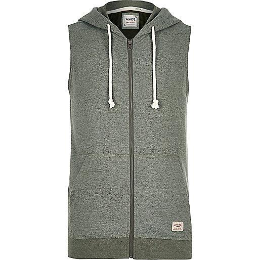 Green Jack & Jones Vintage sleeveless hoodie