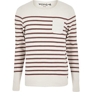 Cream Jack & Jones Vintage stripe sweater