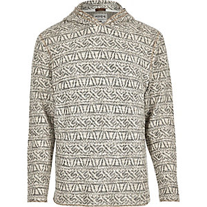 Ecru patterned Jack & Jones Vintage hoodie