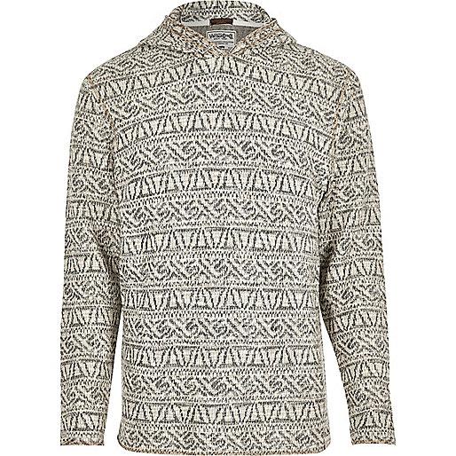 Ecru patterned Jack & Jones Vintage hoodie
