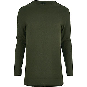 Khaki longline long sleeve T-shirt