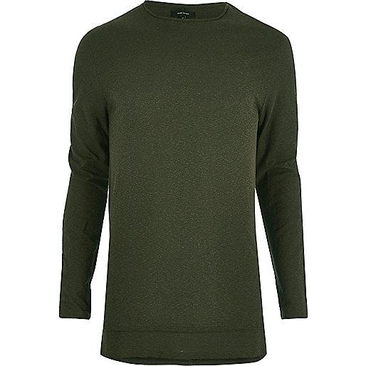 Langes, langärmliges T-Shirt in Khaki