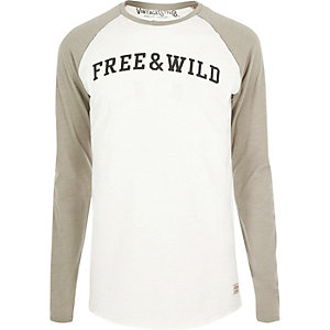 Grey 'Free' print Jack & Jones Vintage top