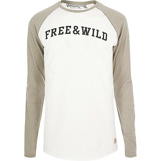 Grey 'Free' print Jack & Jones Vintage top