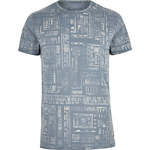 Blue Jack & Jones Vintage pattern T-shirt