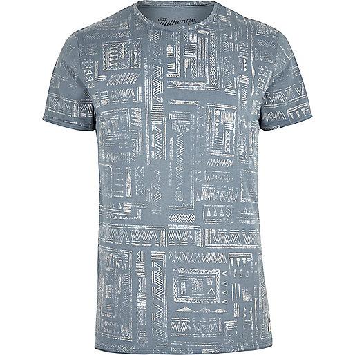 Blue Jack & Jones Vintage pattern T-shirt