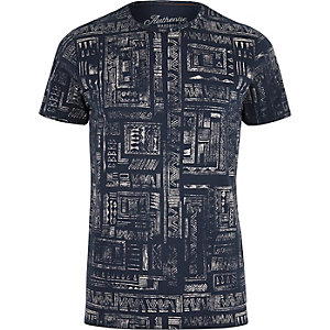 Navy Jack & Jones Vintage pattern T-shirt