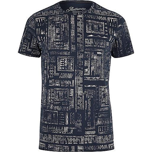 Jack & Jones Vintage – Marineblaues, gemustertes T-Shirt