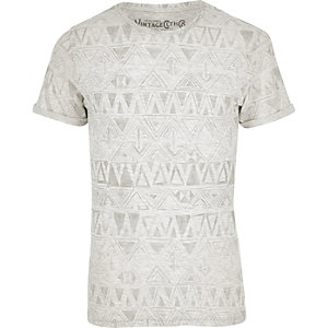 White Jack & Jones Vintage pattern T-shirt