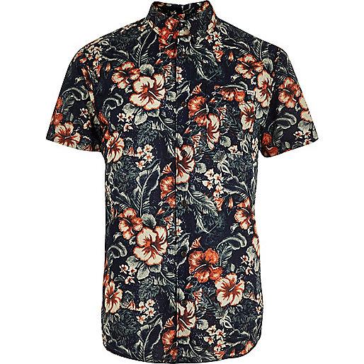 Blue Jack & Jones Vintage floral print shirt